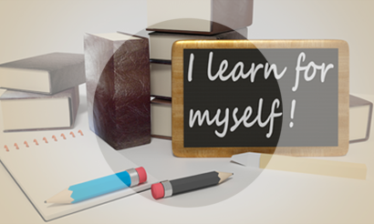 Krijtbord met de tekst: I learn for myself